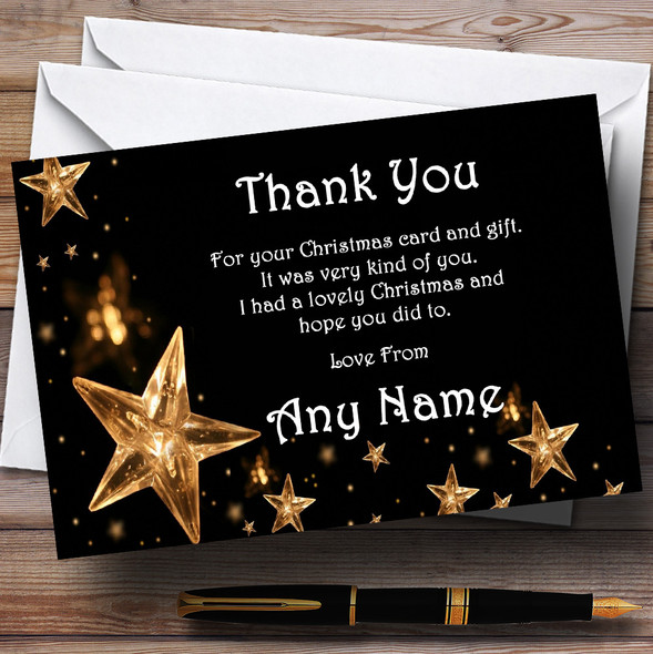 Gold Stars White Personalised Christmas Party Thank You Cards