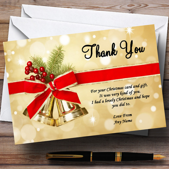 Golden Bells Personalised Christmas Party Thank You Cards