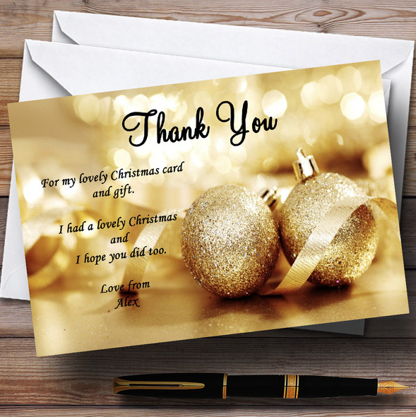 Golden Personalised Christmas Party Thank You Cards