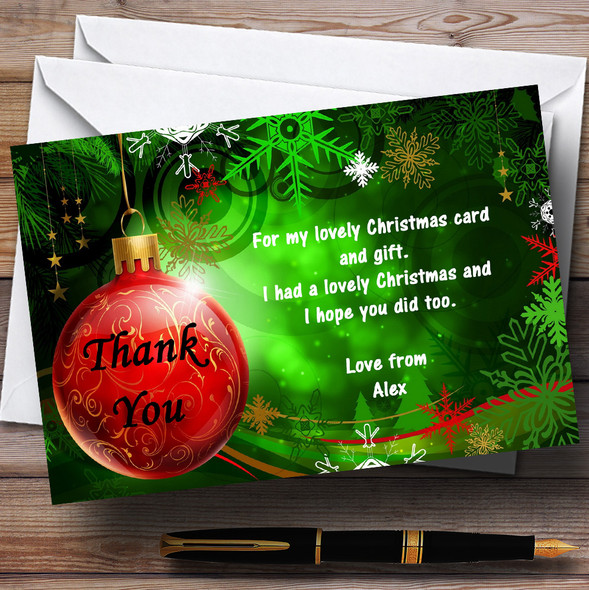 Green Personalised Christmas Party Thank You Cards