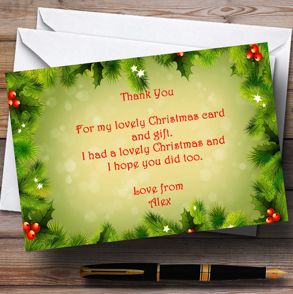 Holly And Berries Personalised Christmas Party Thank You Cards