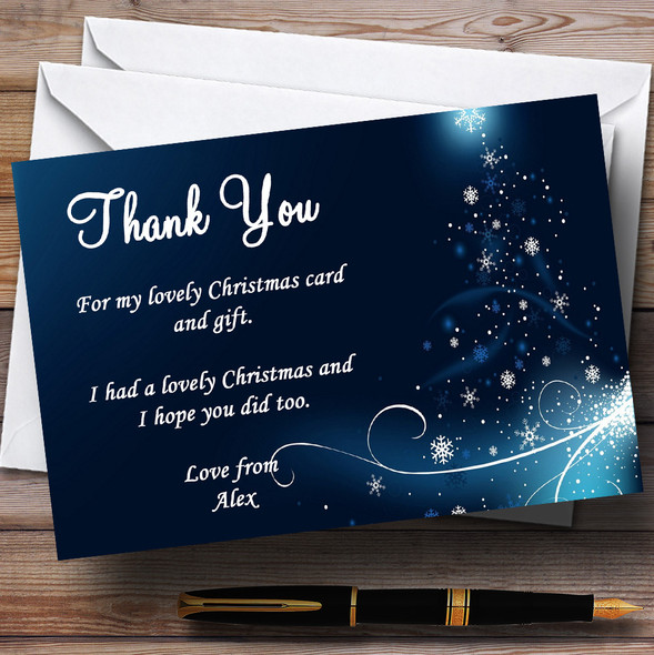 Blue And White Snow Personalised Christmas Party Thank You Cards