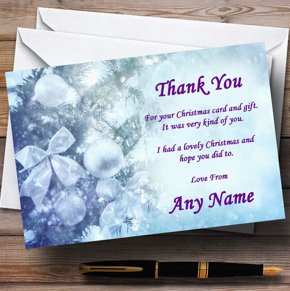 Pale Blue Personalised Christmas Party Thank You Cards