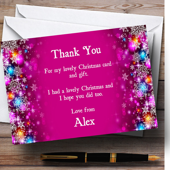 Pink Colourful Baubles Personalised Christmas Party Thank You Cards