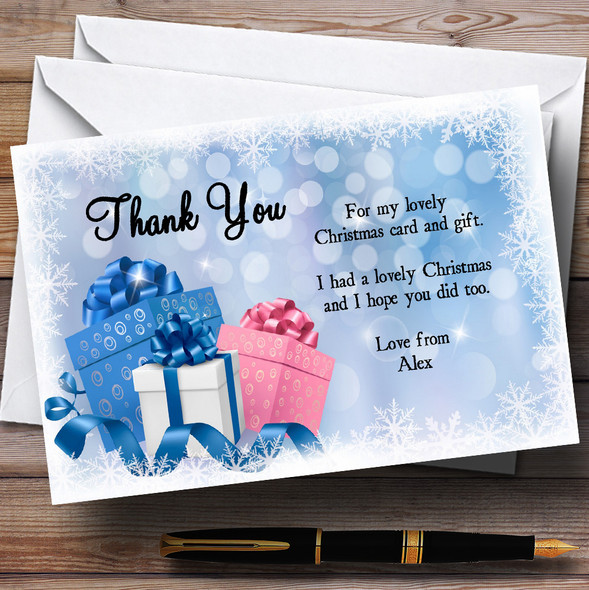 Presents Personalised Christmas Party Thank You Cards