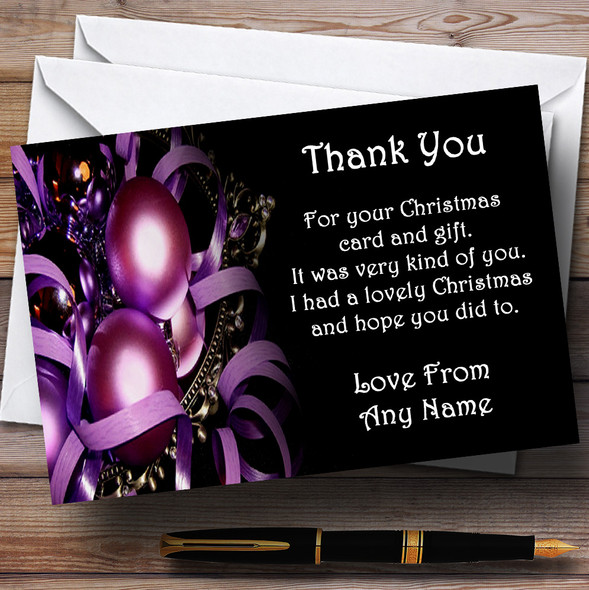 Purple Baubles Personalised Christmas Party Thank You Cards