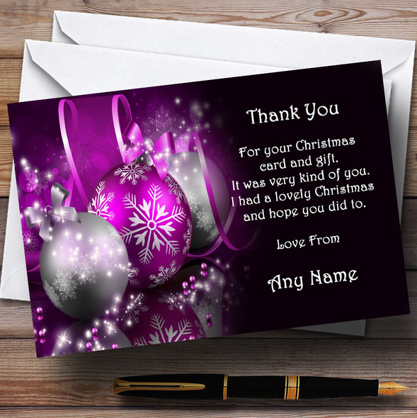 Purple Personalised Christmas Party Thank You Cards