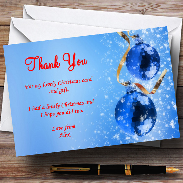 Red And Blue Personalised Christmas Party Thank You Cards