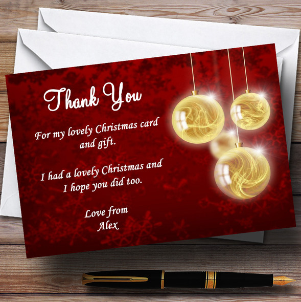 Red And Gold Bauble Personalised Christmas Party Thank You Cards