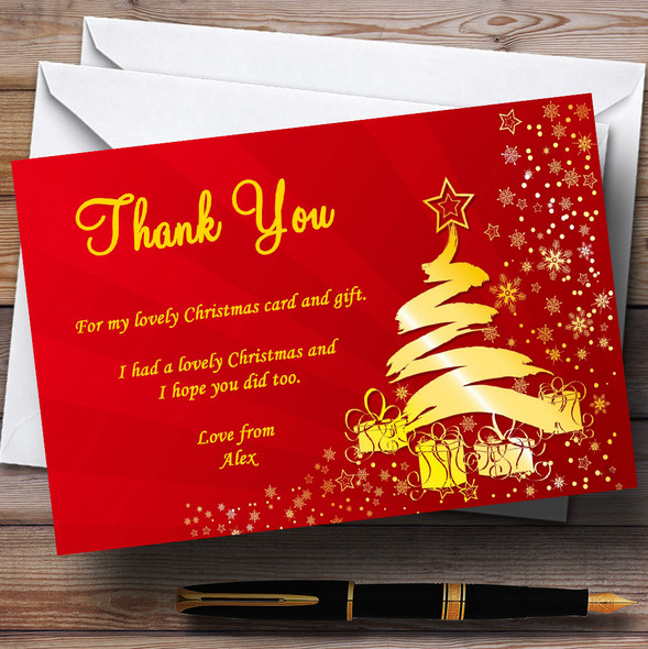 Red And Gold Personalised Christmas Party Thank You Cards
