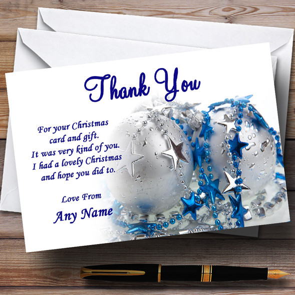 Blue And White Personalised Christmas Party Thank You Cards