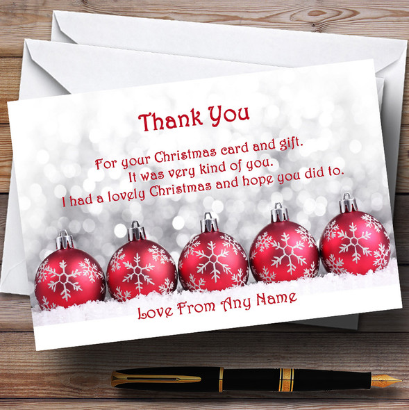 Red Baubles Personalised Christmas Party Thank You Cards