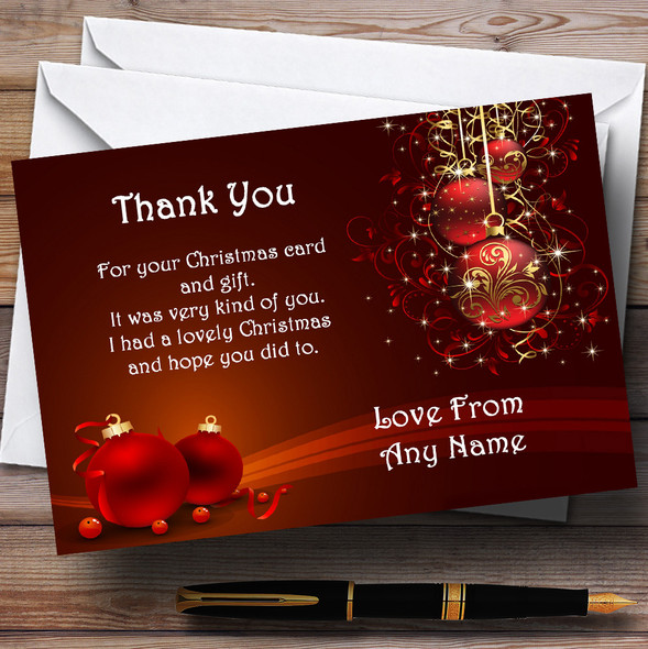 Red Decs Personalised Christmas Party Thank You Cards
