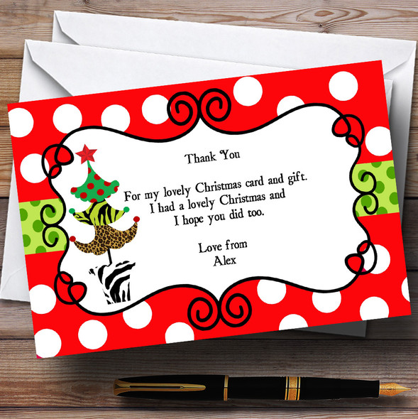 Red Dotty Personalised Christmas Party Thank You Cards