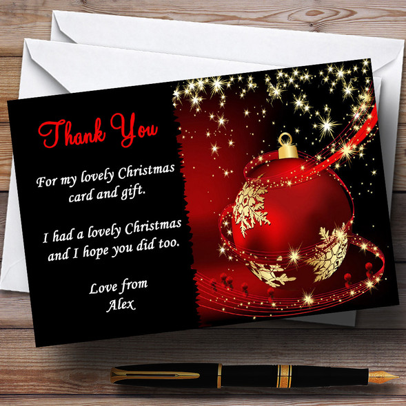 Red Gold And Black Personalised Christmas Party Thank You Cards
