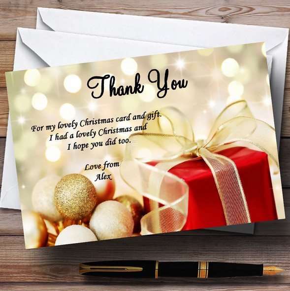 Red Present Personalised Christmas Party Thank You Cards