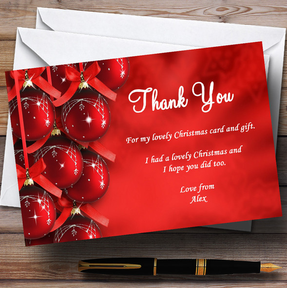 Red Shiny Personalised Christmas Party Thank You Cards