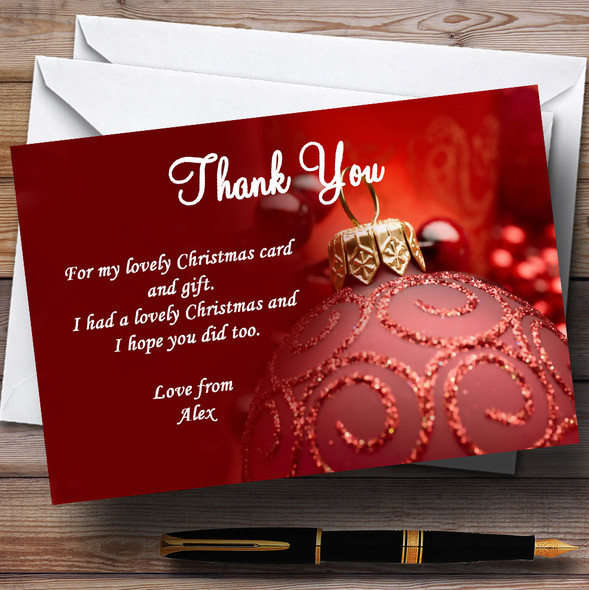 Red Personalised Christmas Party Thank You Cards
