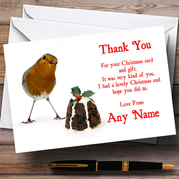 Robin And Pudding Personalised Christmas Party Thank You Cards