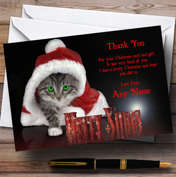 Santa Cat Personalised Christmas Party Thank You Cards