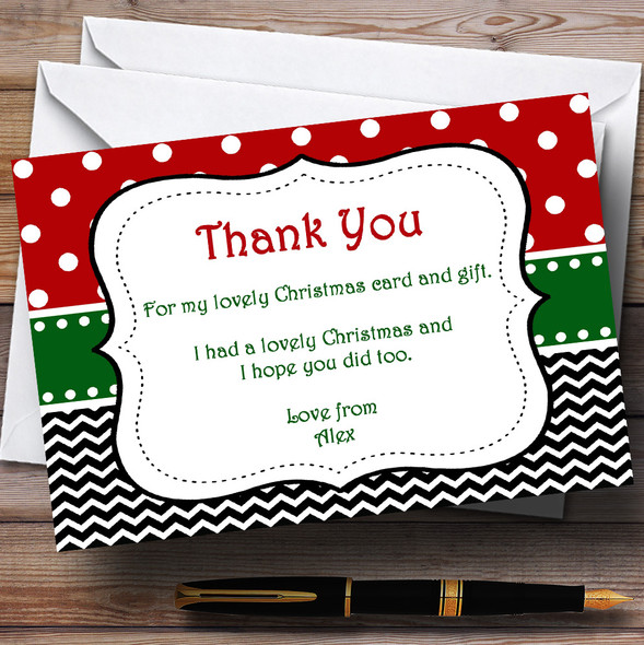 Seasonal Colours Personalised Christmas Party Thank You Cards