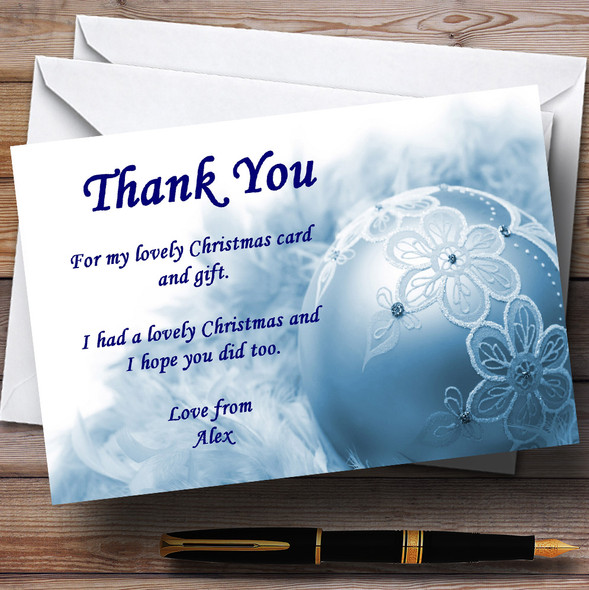 Blue Lace Bauble Personalised Christmas Party Thank You Cards
