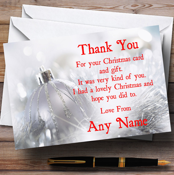 Silver Bauble Personalised Christmas Party Thank You Cards