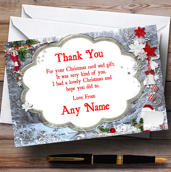 Silver Frames Personalised Christmas Party Thank You Cards