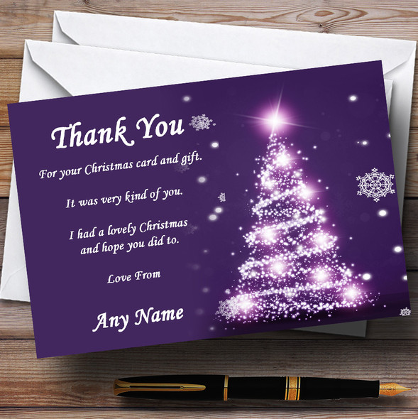 Pretty Purple Tree Personalised Christmas Party Thank You Cards