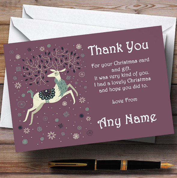 Xmas Reindeer Personalised Christmas Party Thank You Cards
