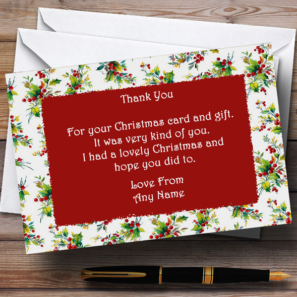 Vintage Holly Personalised Christmas Party Thank You Cards