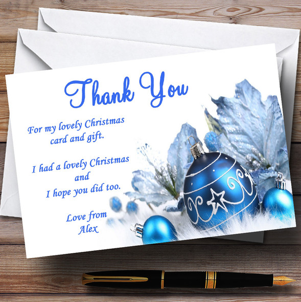 White And Blue Baubles Personalised Christmas Party Thank You Cards