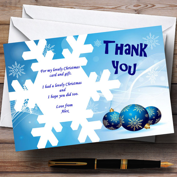 White And Blue Personalised Christmas Party Thank You Cards