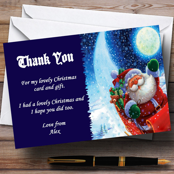 Blue Santa Personalised Christmas Party Thank You Cards