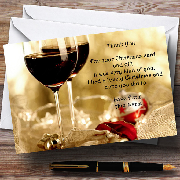 Wine Personalised Christmas Party Thank You Cards
