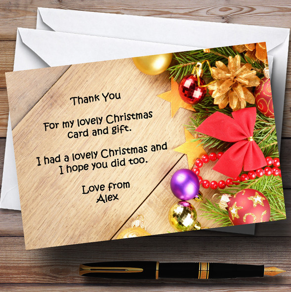 Xmas Decorations Personalised Christmas Party Thank You Cards