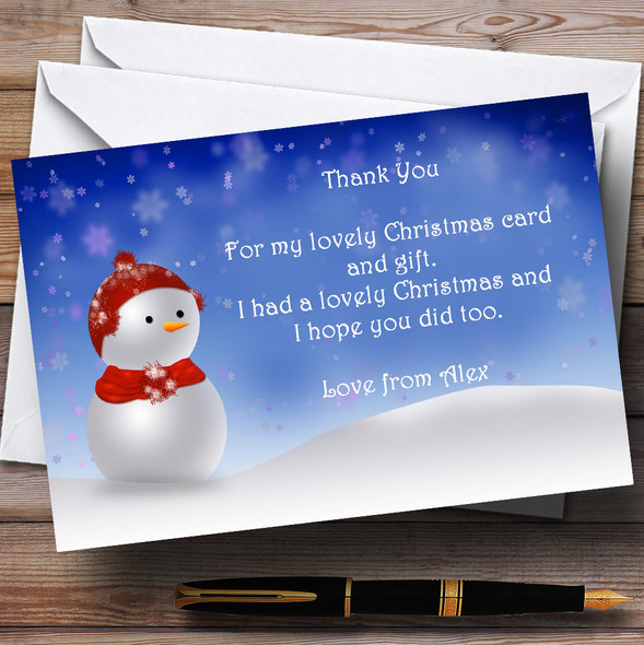 Blue Snowman Personalised Christmas Party Thank You Cards