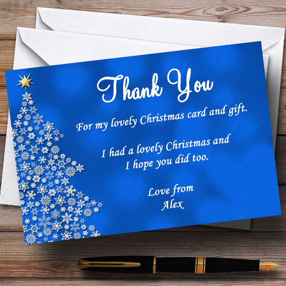 Blue Xmas Tree Personalised Christmas Party Thank You Cards