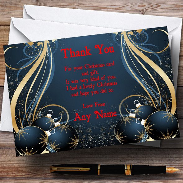 Blue Personalised Christmas Party Thank You Cards