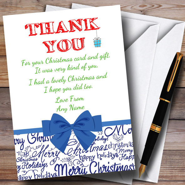 Blue Bow Personalised Christmas Thank You Cards