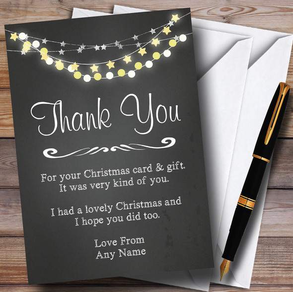Chalk String Of Lights Personalised Christmas Thank You Cards
