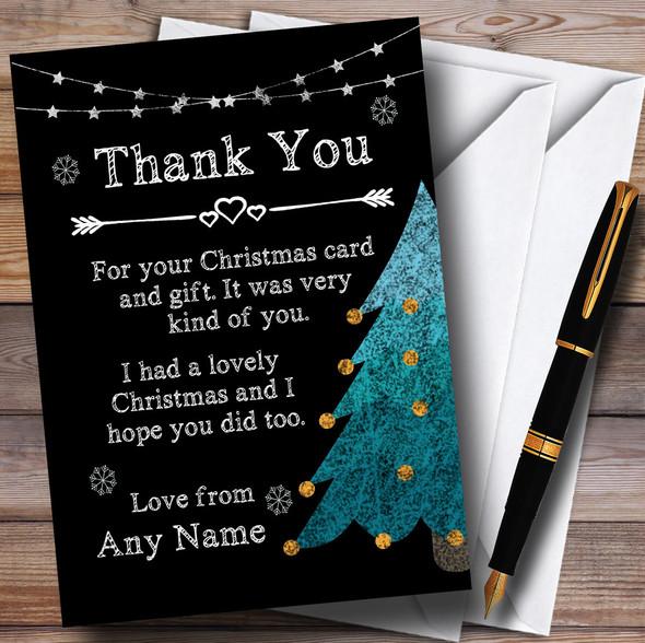 Chalk Xmas Tree Personalised Christmas Thank You Cards
