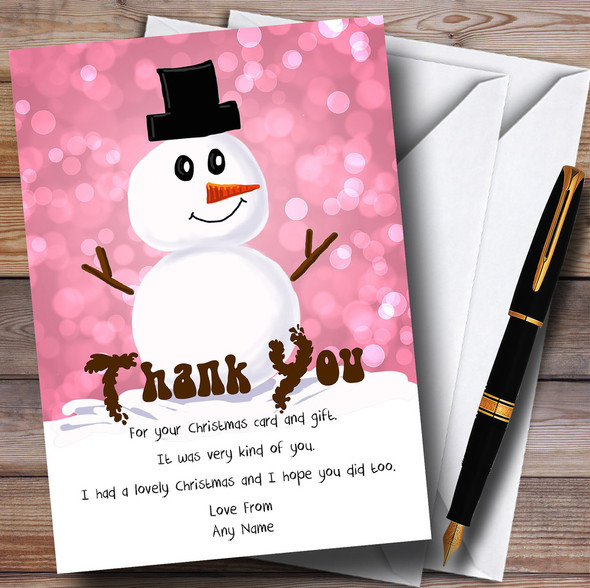 Pink Cute Snowman Personalised Christmas Thank You Cards