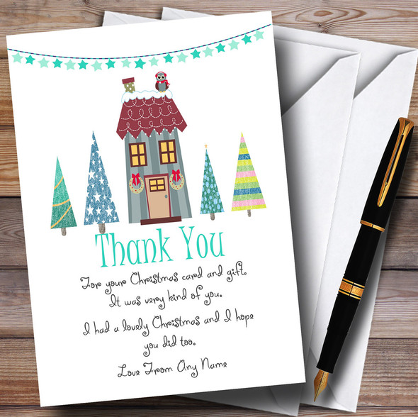 Xmas House Personalised Christmas Thank You Cards