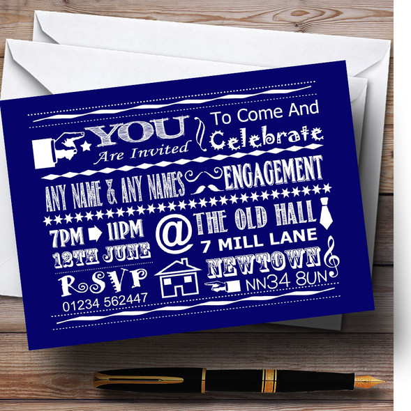 Cool Vintage Fun Chalk Typography Navy Blue Personalised Engagement Party Invitations
