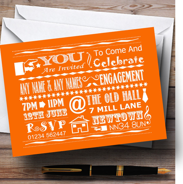 Cool Vintage Fun Chalk Typography Orange Personalised Engagement Party Invitations