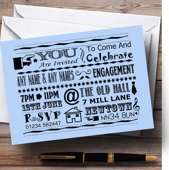 Cool Vintage Fun Chalk Typography Pale Blue Personalised Engagement Party Invitations