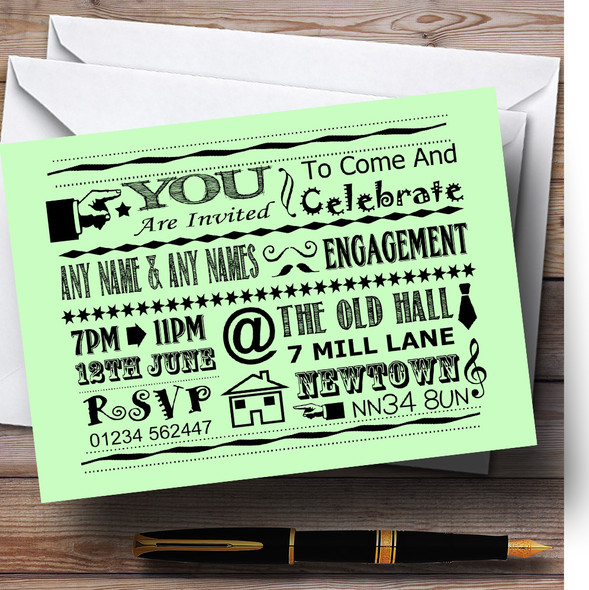 Cool Vintage Fun Chalk Typography Pale Green Personalised Engagement Party Invitations