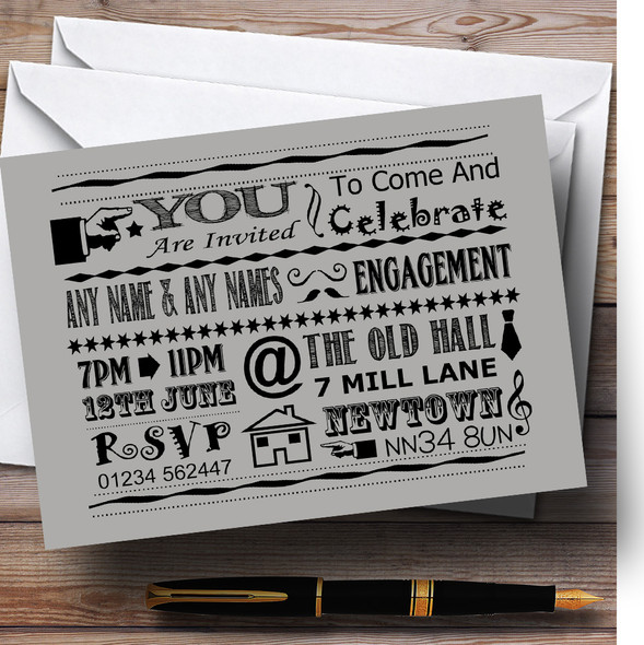 Cool Vintage Fun Chalk Typography Pale Grey Personalised Engagement Party Invitations
