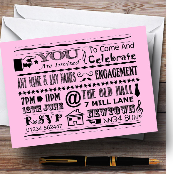 Cool Vintage Fun Chalk Typography Pale Pink Personalised Engagement Party Invitations
